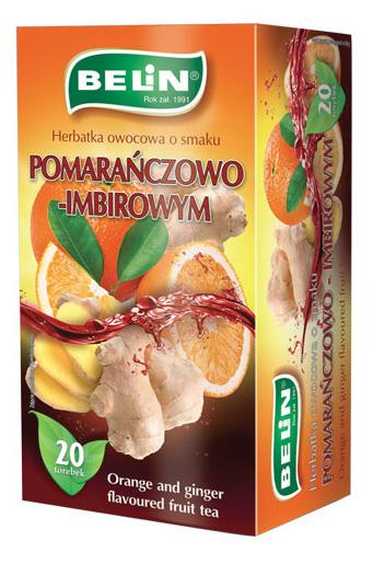 Herbatka owocowa o smaku pomarańczy z imbirem